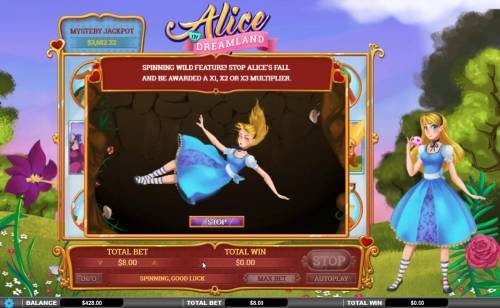 Alice in Dreamland Big Bonus Slots Spinning Wild Feature triggered. Press Stop and be awarded an x1, x2 or x3 multiplier.