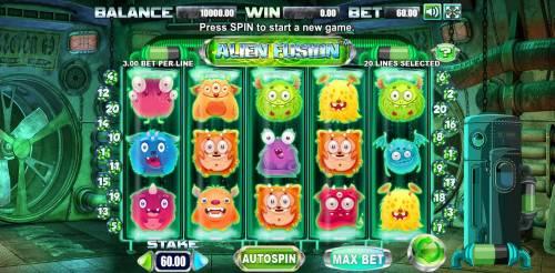 Alien Fusion Big Bonus Slots Main Game Board