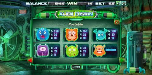 Alien Fusion Big Bonus Slots Low value game symbols paytable