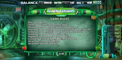 Alien Fusion Big Bonus Slots General Game Rules