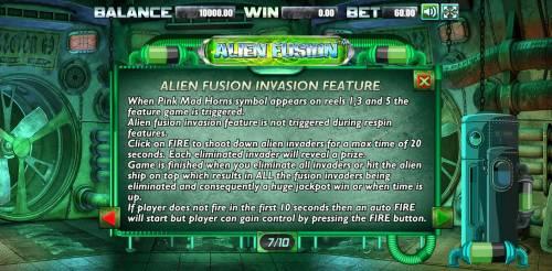 Alien Fusion Big Bonus Slots Alien Fusion Invasion Feature Rules