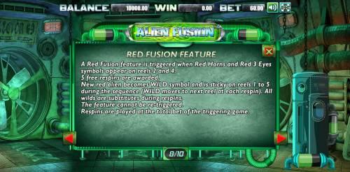 Alien Fusion Big Bonus Slots Red Fusion Feature Rules