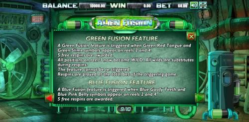 Alien Fusion Big Bonus Slots Green Fusion Feature Rules