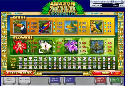Amazon Wilds 100 Line Slot Big Bonus Slots the game is configured with 100 pay lines