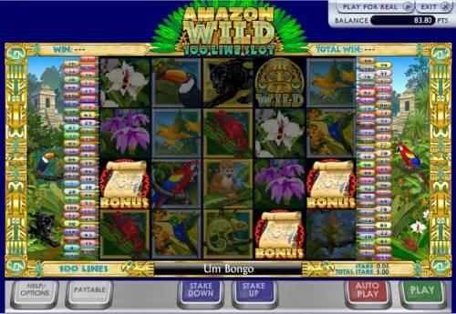 Amazon Wilds 100 Line Slot Big Bonus Slots threes map bonus symbols trigger the bonus feature