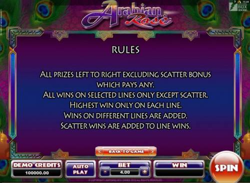 Arabian Rose review on Big Bonus Slots