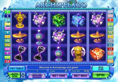 Archipelago Big Bonus Slots main game board featuring five reels and 25 paylines