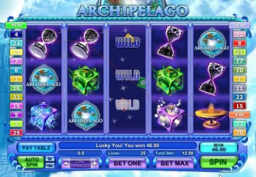 Archipelago Big Bonus Slots expanding wild triggers a 46 coin jackpot