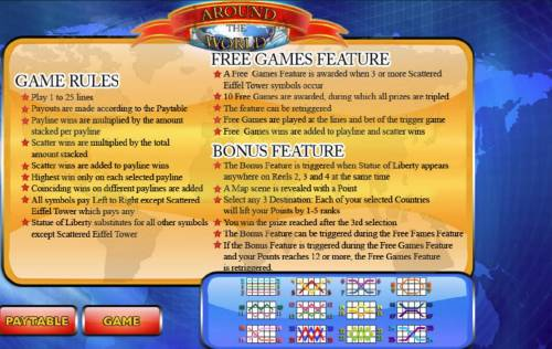 Around the World Big Bonus Slots General Game Rules - Free Games Feature - Bonus Feature