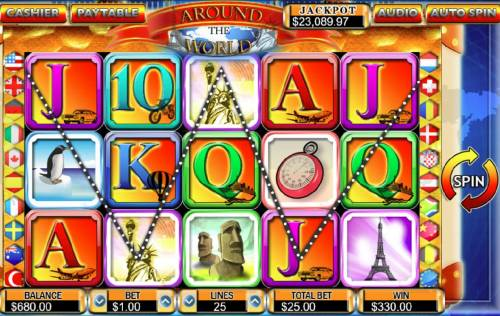 Around the World Big Bonus Slots Multiple winning paylines triggers a 330.00 big win!