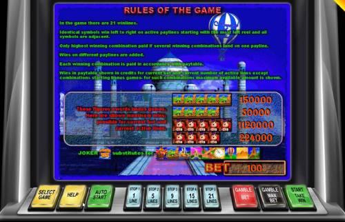 Around the World Big Bonus Slots General Game Rules