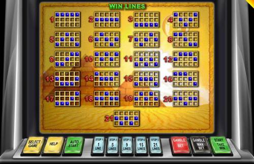 Around the World Big Bonus Slots Payline Diagrams 1-21