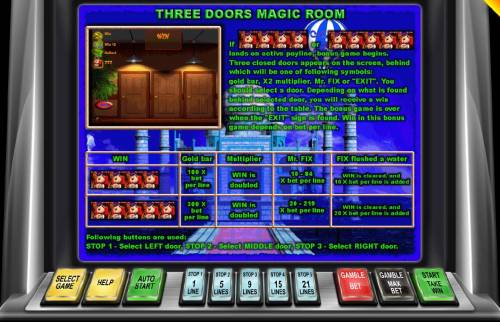 Around the World Big Bonus Slots 4 or 5 Mr Fix symbols landing on an active payline triggers the Three Doors Magic Room bous feature.