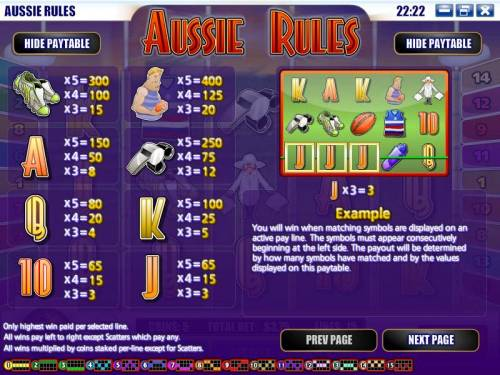 Aussie Rules review on Big Bonus Slots