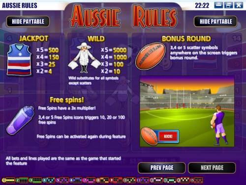 Aussie Rules review on Big Bonus Slots