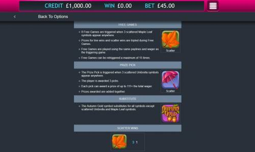 Autumn Gold Big Bonus Slots Wild and Scatter Symbols Rules and Pays