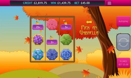 Autumn Gold Big Bonus Slots Bonus feature awards 1439 coins jackpot