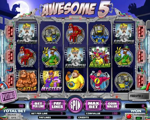Awesome 5 Big Bonus Slots A cartoon super hero themed main game board featuring five reels and 5 paylines with a $15,000 max payout.