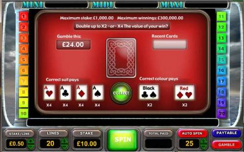 Battle of the Atlantic Big Bonus Slots gamble feature game board - offers a chance to increase your winnings. available after every winning spin.