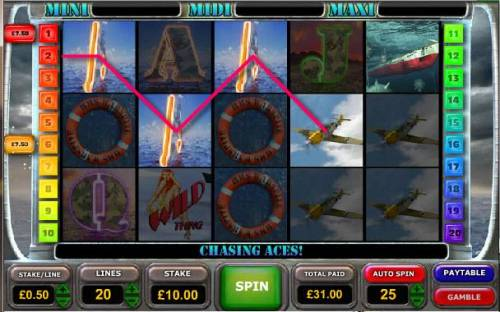 Battle of the Atlantic Big Bonus Slots another example of multiple winning paylines triggering a 31.00 jackpot