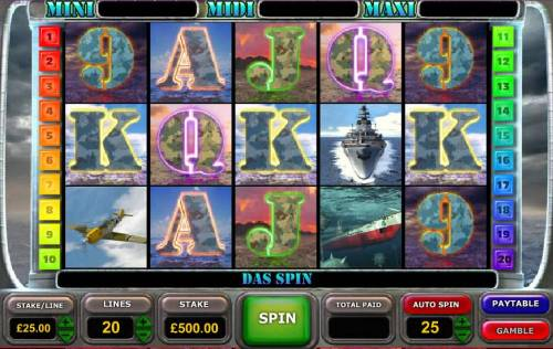 Battle of the Atlantic Big Bonus Slots Main game board featuring five reels and 20 paylines with a $25,000 max payout
