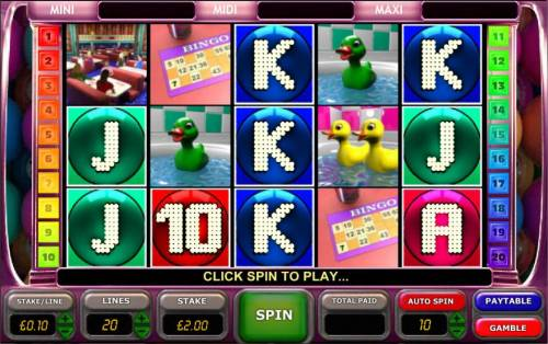 Bingo Slot Big Bonus Slots main game board featuring five reels and twenty paylines