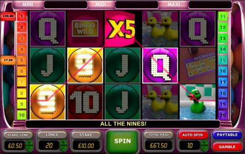 Bingo Slot Big Bonus Slots another example of multiple winning paylines