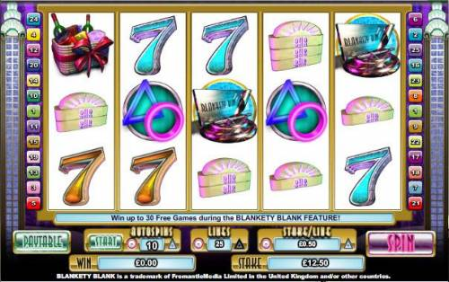 Blankety Blank Big Bonus Slots main game board featuring five reels and 25 paylines
