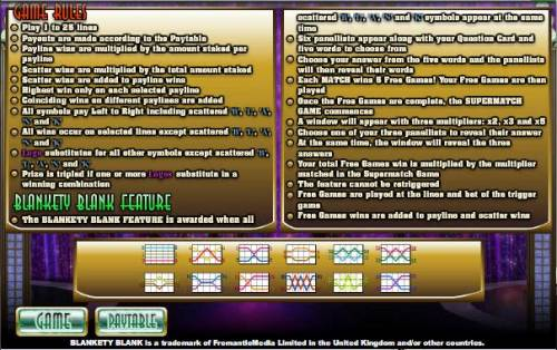 Blankety Blank Big Bonus Slots game rules, bonus feature rules - how to play and payline diagrams
