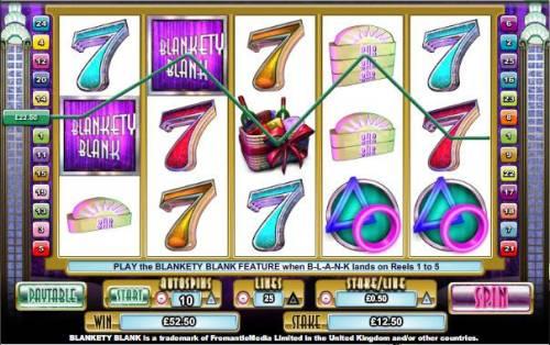 Blankety Blank Big Bonus Slots multiple winning paylines triggers a $52 jackpot