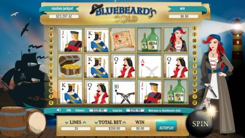 Bluebeard's Gold Big Bonus Slots Main game board featuring five reels and 25 paylines with a $100,000 max payout