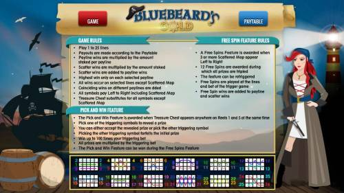 Bluebeard's Gold Big Bonus Slots General Game Rules - Free Games Feature - Pick and Win Feature - Payline Diagrams 1 - 25