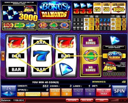 Bonus Diamonds review on Big Bonus Slots