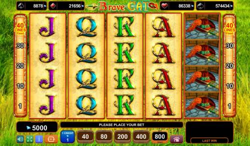 Brave Cat Big Bonus Slots Main Game Board
