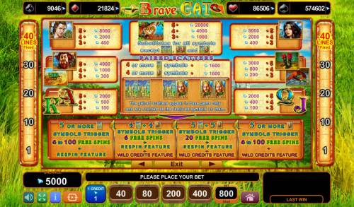 Brave Cat Big Bonus Slots Paytable