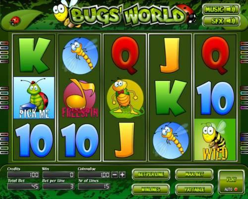Bugs World Big Bonus Slots Main game board featuring three reels and 5 paylines with a $6,000 max payout.