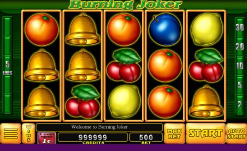 Burning Joker Big Bonus Slots Main game board featuring five reels and 5 paylines with a $30,000 max payout.
