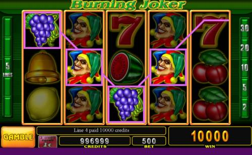 Burning Joker Big Bonus Slots Stacked wilds triggers a pair of winning paylines leading to a 10000 coin win