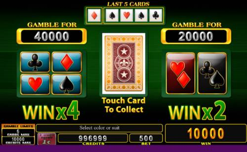 Burning Joker Big Bonus Slots Gamble Feature - To gamble any win press Gamble then select Red or Black or Suit