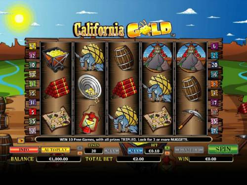 California Gold Big Bonus Slots Main game board featuring five reels and 20 paylines