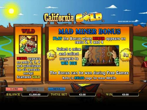 California Gold Big Bonus Slots how to play and paytable for the wild and mad miner bonus feature