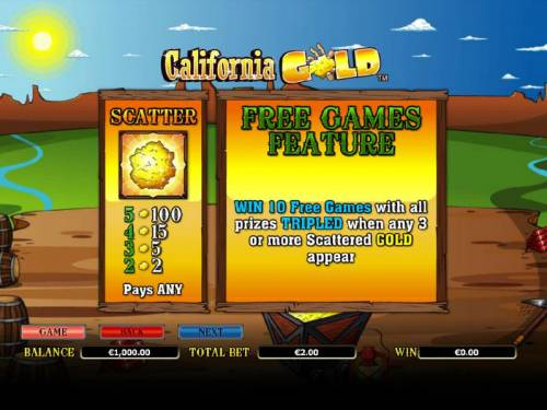 California Gold Big Bonus Slots scatter paytable and free games feature rules