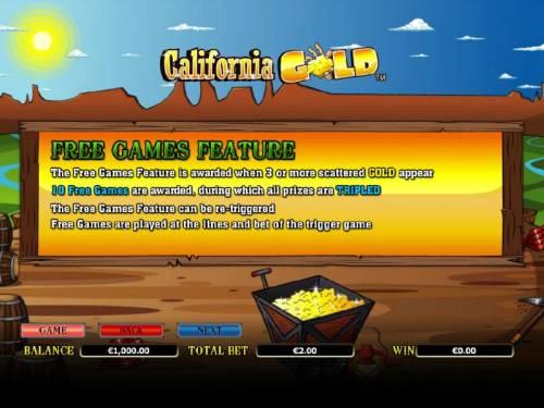 California Gold Big Bonus Slots free games feature rules