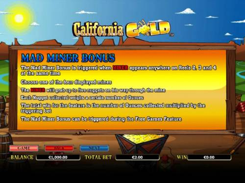 California Gold review on Big Bonus Slots