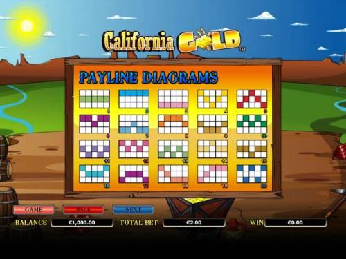 California Gold Big Bonus Slots payline diagrams