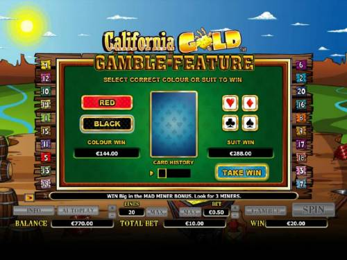 California Gold Big Bonus Slots gamble feature game board