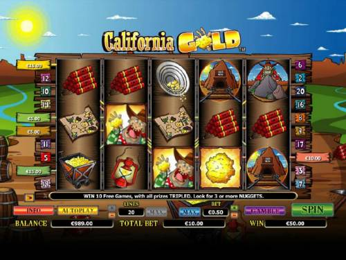 California Gold Big Bonus Slots a $50 jackpot triggered by multiple winning paylines