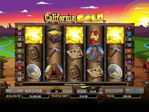 California Gold Big Bonus Slots three scatter symbols triggers 10 free games