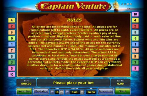 Captain Venture Big Bonus Slots General Game Rules