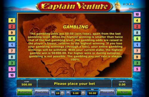 Captain Venture Big Bonus Slots Gamble Feature Rules